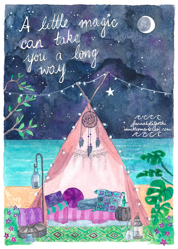 A Little Magic Can Take you a long way... Roald Dahl quote, original artwork Hannah Katarski