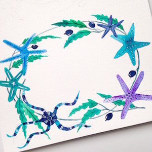 starfish and seaweed inspired wreath