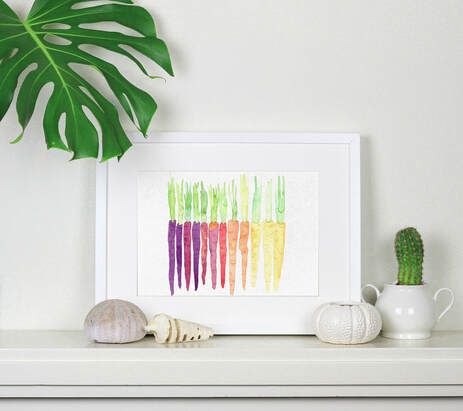 heritage carrots watercolour by Mermaid's Coin