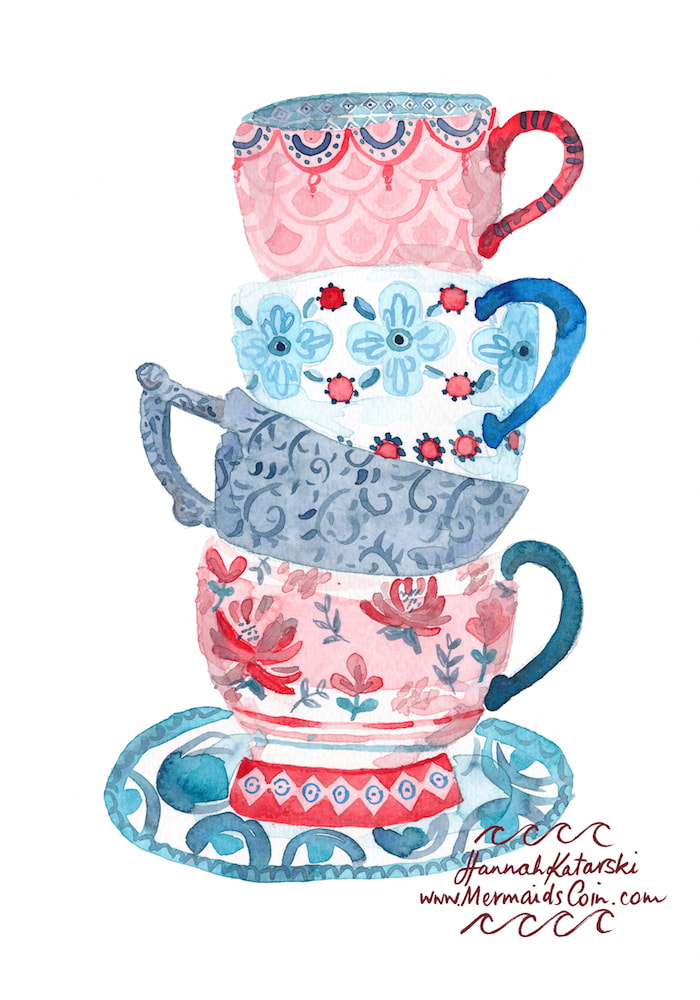 Antique teacup stack watercolour illustration