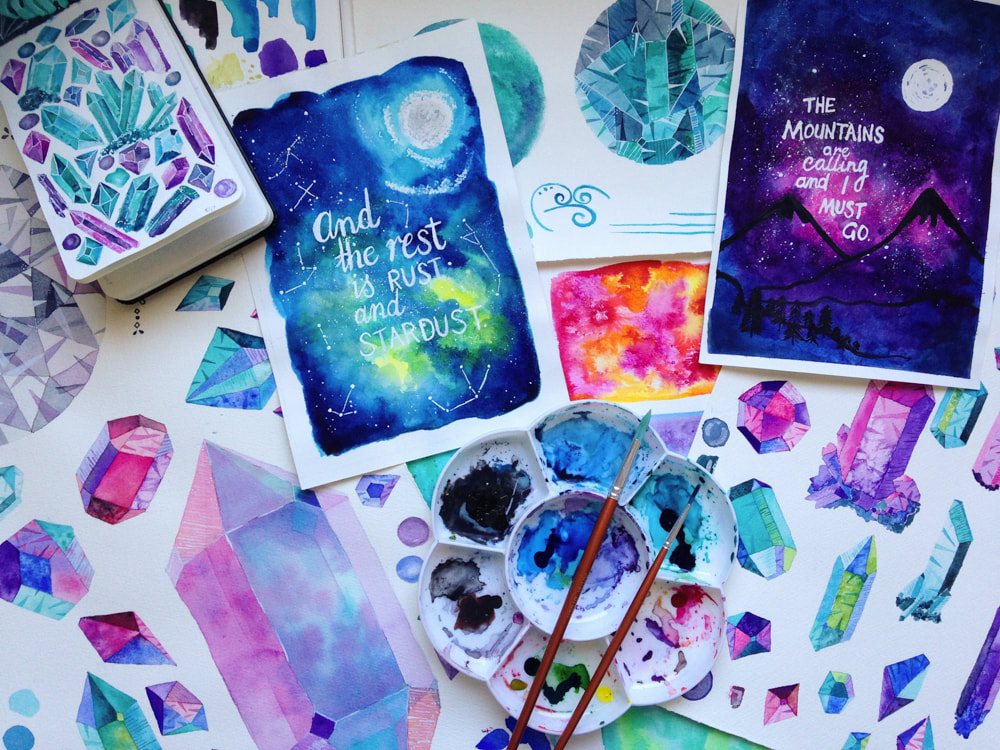 painting galaxy and crystal watercolours
